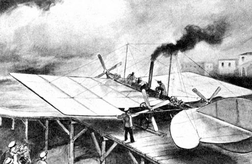 The plane built A. Mozhaisky (1882) | soruce delcampe