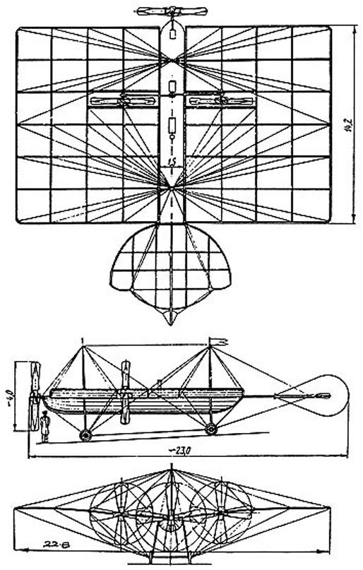 esquema del avion de Mozhaisky | soruce elhangardeyurigagarin