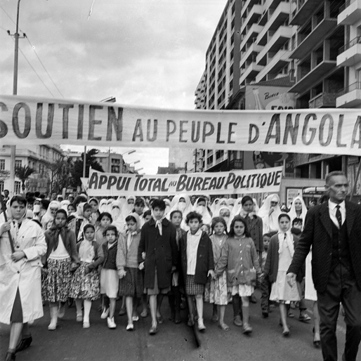Algerians rallying in support of Angolan independence (1963) | photo: Elia Kagan