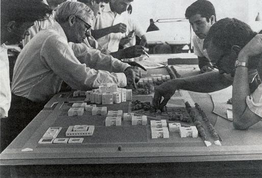 Louis Kahn and his assistants working on Sher-e-Bangla Nagar, Dhaka, Bangladesh © 1964. Photo: George Alikakos.