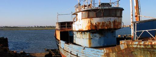 Deserted shipyard along the Southern shore of the Lisbon Tagus estuary   May 1, 2009