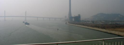 Macau-Taipa Bridge, overlooking Sai Van Bridge  Macau, January 22