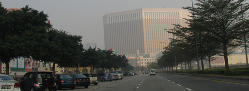 Facing the Venetian Macau-Resort-Hotel, the world's biggest casino in Cotai   Macau, January 22