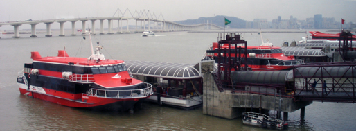 Ferry terminal on the Outer Harbour, overlooking the Friendship Bridge   Macau, January 24