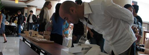Ordos100 architects cruising the corridors, monitoring the models