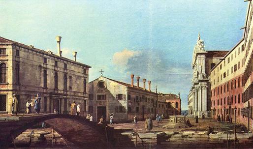 Il Campo e la Chiesa dei Gesuiti a Venezia | Canaletto (1697–1768), Palazzo Zen (left side)